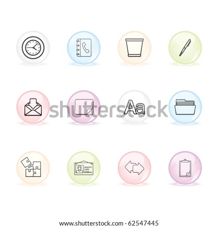 Office icon set 12 - Sphere Series.  Vector EPS 8 format, easy to edit. - stock vector