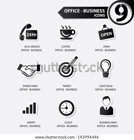 Office icons,Black version,vector - stock vector