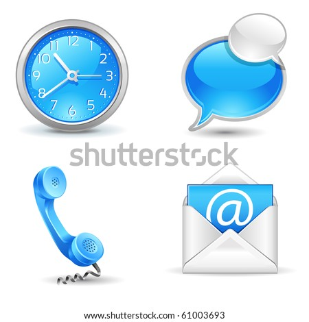 office  icons - clock, handset, mail, chat - stock vector