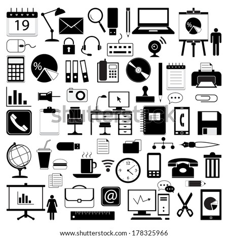 Office icons collection, black isolated on white background, vector illustration. - stock vector