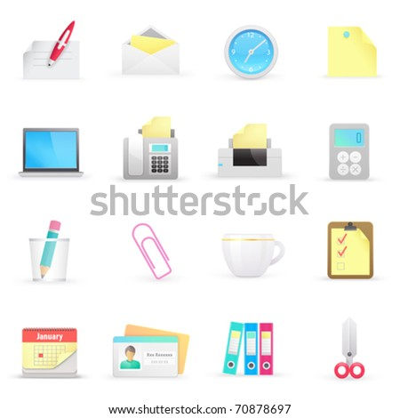 Office icons on a white background