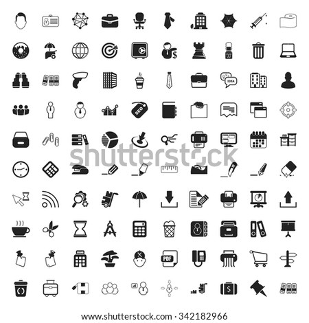 office 100 icons set for web flat