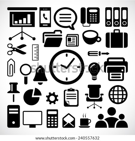 Office icons set great for any use. Vector EPS10. - stock vector