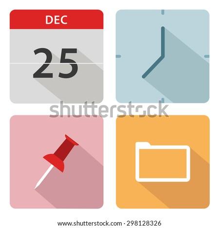 Office icons set of calendar, clock, pin and folder - stock vector