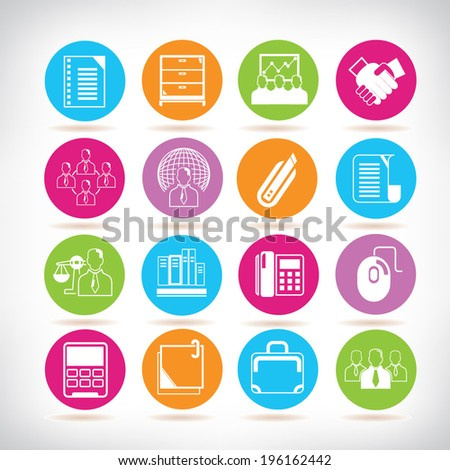 office icons set, organization management color buttons set - stock vector