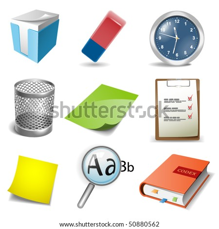 Office icons set. Vector illustration - stock vector