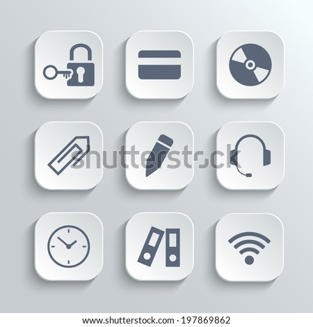 Office icons set - vector white app buttons with lock key credit card disk clip pen headphones clock folder wi-fi zone - stock vector