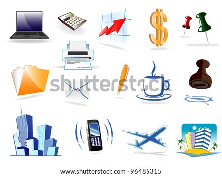 office icons. vector illustration - stock vector