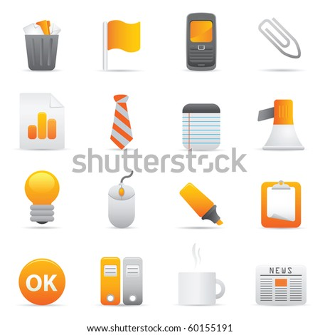 Office Icons, Yellow10 Professional icons for your website, application, or presentation - stock vector