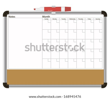 Office information booth with a calendar and a marker. Vector illustration. - stock vector