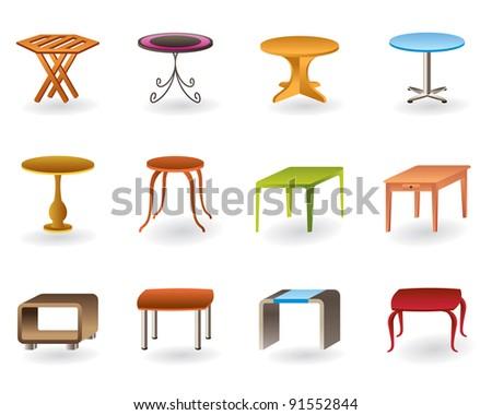 Office, interior and garden tables  - vector illustration - stock vector