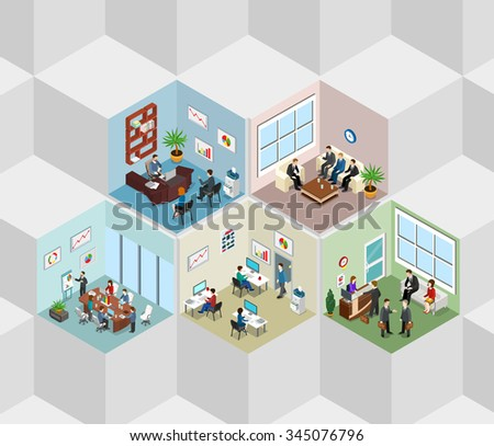 Office interior cells flat 3d isometry isometric concept web vector illustration. Boss meeting report manager reception room. Creative people collection. - stock vector