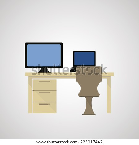 Office interior design over color background