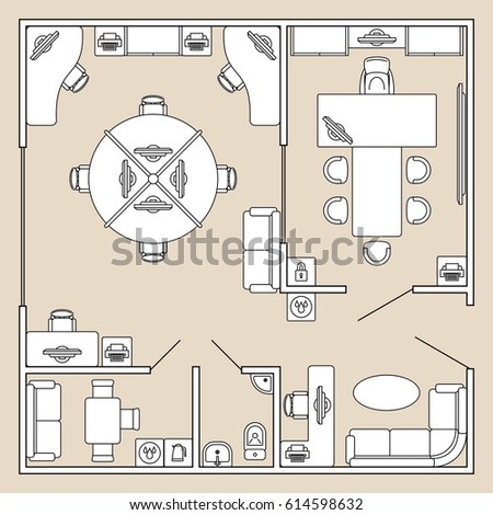 Office Interior Top View Architecture Plan Vector Illustration Cabinet With Furniture Table And