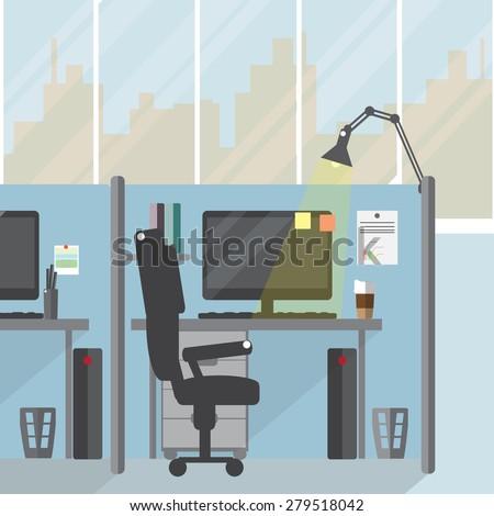 Office Interior. Vector flat illustration. - stock vector