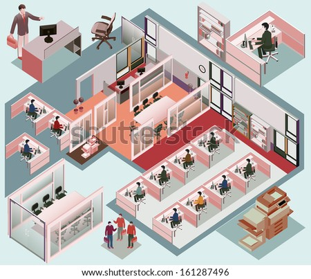 office isometric. with workstation, manager room, waiting room, recepsionist, meeting room. detailed vector isometric with separated object  - stock vector