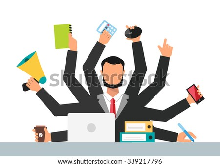 Office job stress work vector illustration. Stress on work. Business man day. Office life business man. Business situation. People in action. Computer, table, many hands. Office people. Stress on job - stock vector