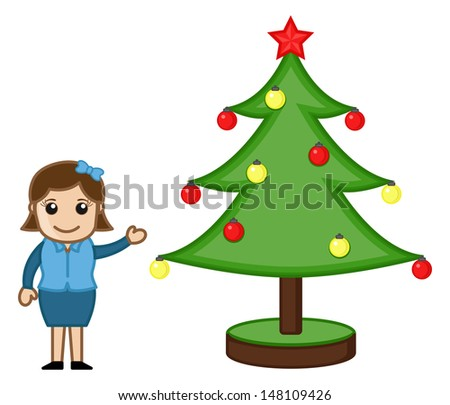 Office Lady with Xmas Tree on Christmas - Cartoon Business Characters - stock vector