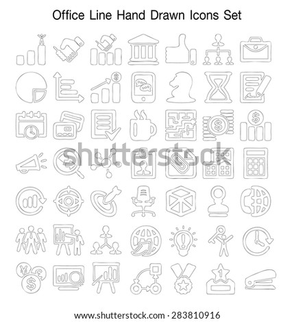 Office line Hand Drawn icon set - stock vector