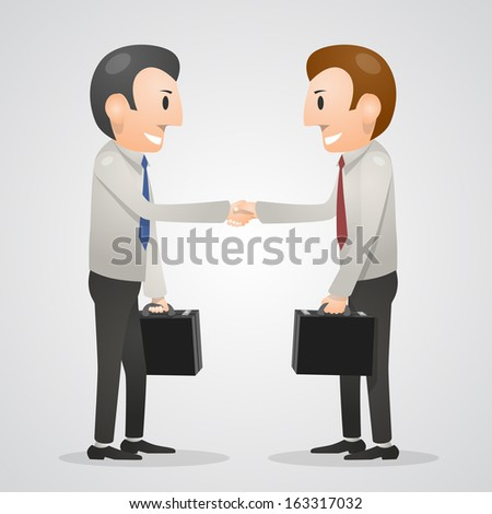Office man shaking hands. Vector illustration - stock vector