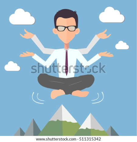office man yoga illustration