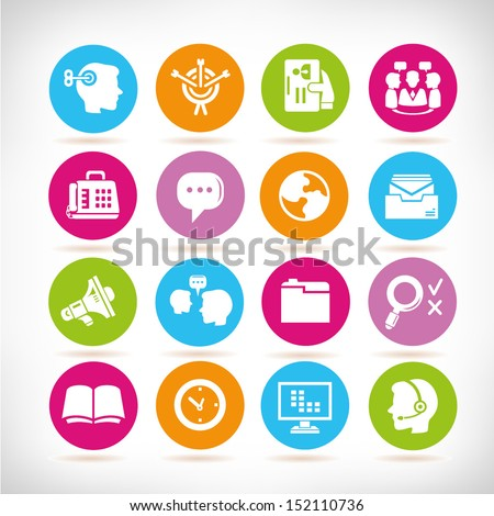 office management icons set, , round button set - stock vector