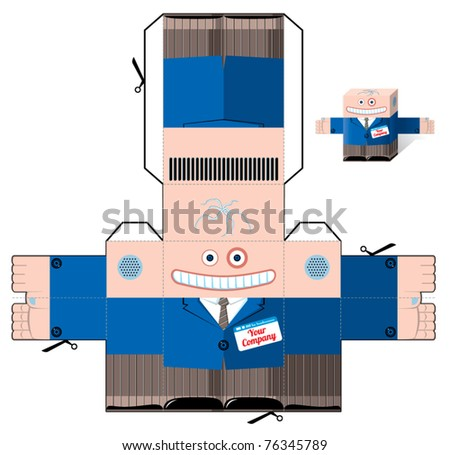 Office mascot cut and fold scheme - stock vector