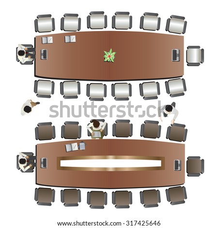 Office Meeting Top View Set Stock Vector Shutterstock - Conference room table and chairs clip art