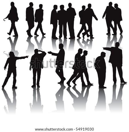Office men vector illustration collection with shadows. - stock vector