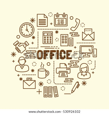 office minimal thin line icons set, vector illustration design elements