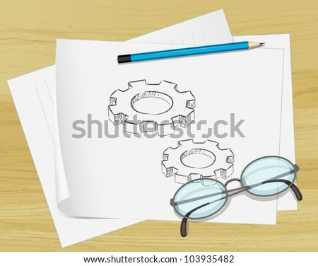 Office notes on paper with glasses