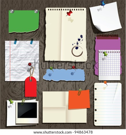 office paper collection - stock vector