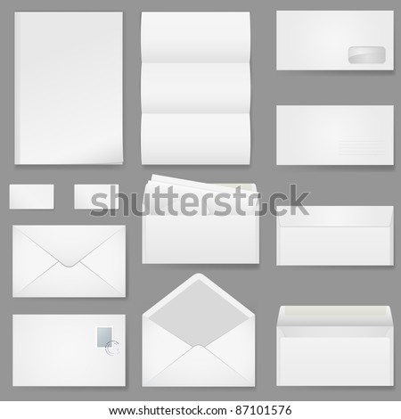 Office paper of different types. Illustration on white background. - stock vector
