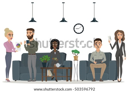 office people set. scenes of people working in the office. white background. Different nationalities. Interior office. vector illustration 3