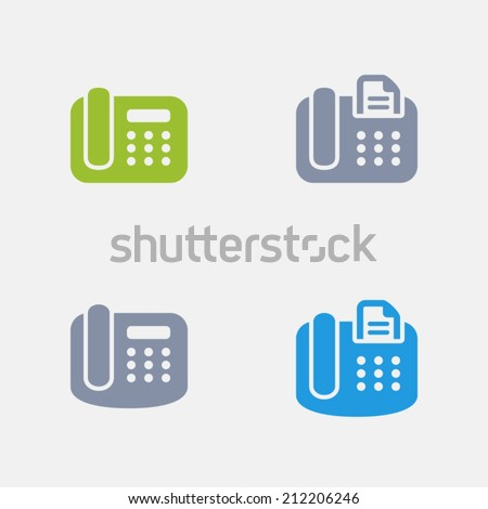 Office Phone Icons. Granite Series. Simple glyph stile icons in 4 versions. The icons are designed at 32x32 pixels. - stock vector