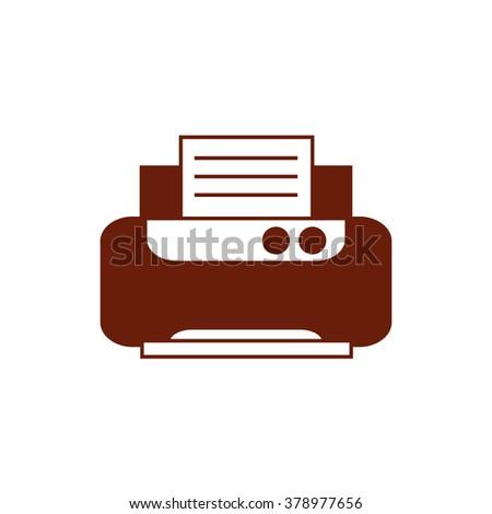 Office printer. Vector icon brown  - stock vector