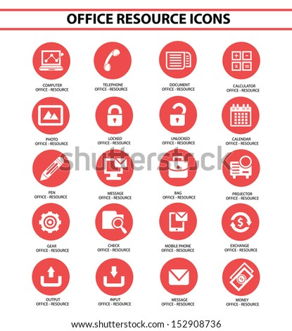 Office resource icons,Red circle version,vector - stock vector