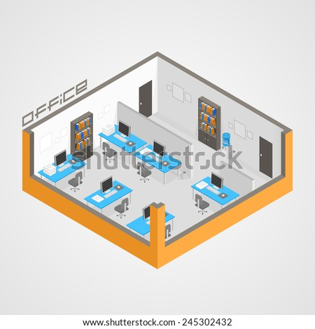 Office room it development. Vector illustration - stock vector
