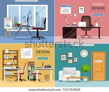 Office Rooms Set. Detailed Graphic Room Interiors With Furniture: Office  Tables, Chairs, Part 85