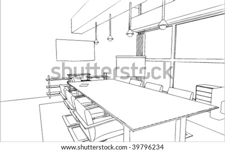 Office's interior vector drawing/sketch - stock vector