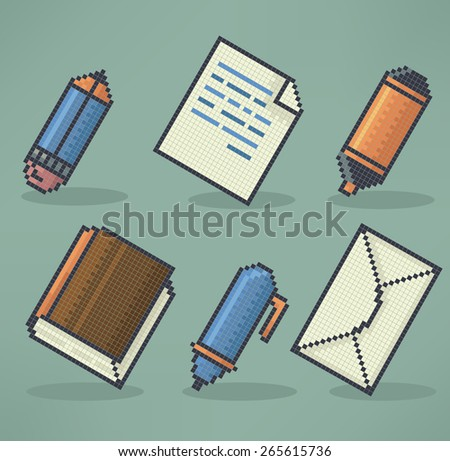 office, science end education objects and icons in pixel art style - stock vector