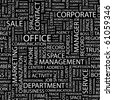 OFFICE. Seamless vector pattern with word cloud. Illustration with different association terms. - stock photo