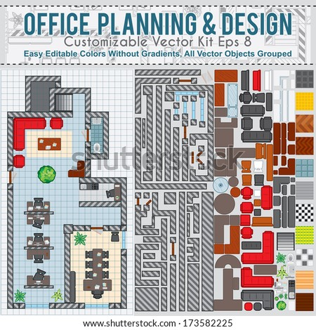 Office space planning design vector kit stock vector for Office space planner online