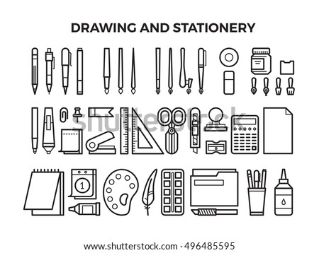 office drawing tools. Office Stationery And Drawing Tools Line Icons. Pencil Pen, Marker Paintbrush.