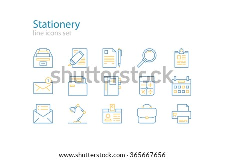 Office stationery  icons. Blue and yellow. Line art. Stock vector. - stock vector