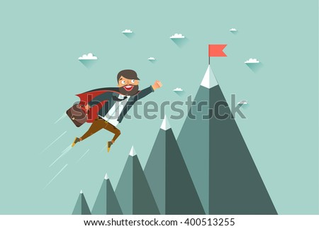 Office superman flying achieve his goal stock vector 2018 office superman flying to achieve his goal leadership concept mountains with red flag on publicscrutiny Gallery