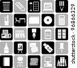 office supplies icons - stock vector