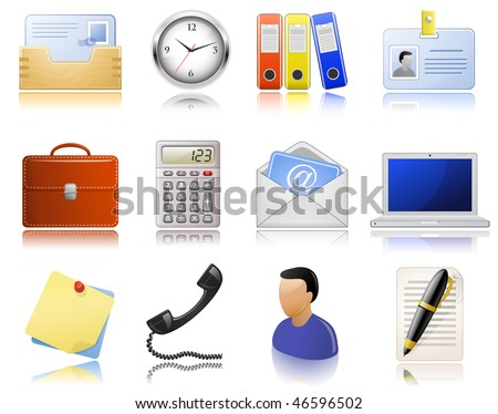 Office supplies. Vector  icon set. Highly detailed icons with a reflection. - stock vector