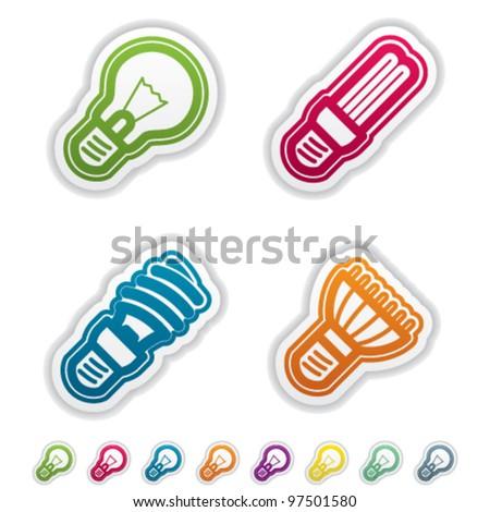 Office Supply Objects: lightbulb, fluorescent eco lightbulb,spiral fluorescent eco lightbulb, led eco lightbulb. - stock vector
