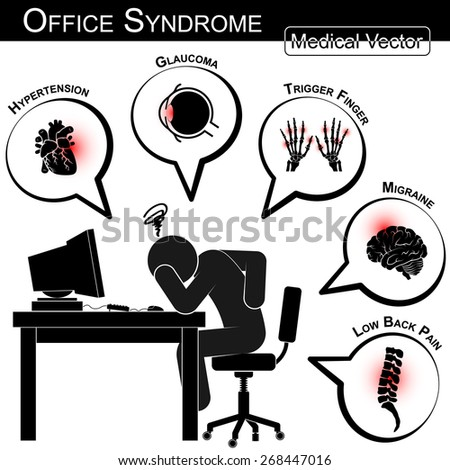 Office Syndrome ( Hypertension , Glaucoma , Trigger finger , Migraine , Low back pain , Gallstone , Cystitis , Stress , Insomnia , Peptic ulcer , carpal tunnel syndrome , etc ) - stock vector